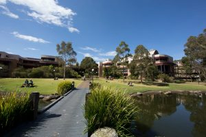 University of Wollongong campus outside pond